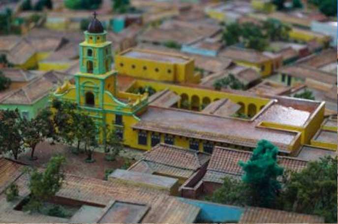 Maqueta de la ciudad, donde se aprecia vista aérea.